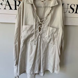 Free people small lace front top